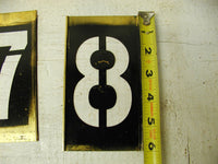 "Vintage Large Brass Stencil Numbers Set 6"" Stencil 4"" Letters - Free Shipping - idugitup"