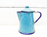 Vintage Mini Coffee Pot - French Country Blue - Porcelain Enamel Coffee Pot Kettle - idugitup