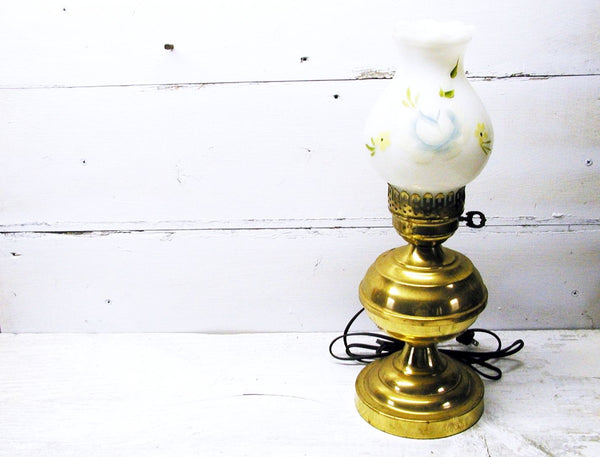 Vintage Country Brass Finish Table Lamp Hand Painted Shade - idugitup