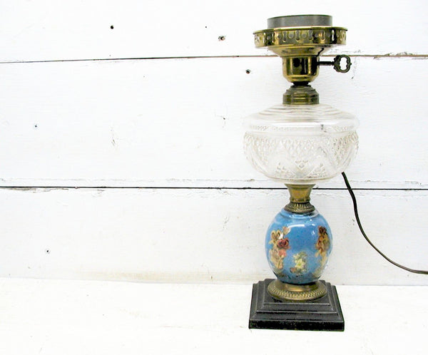 Antique Electrified Oil Lamp - Asian Inspired - Cast Iron Base - Victorian Lamp - Hurricane Lamp - idugitup