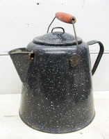 Vintage Enamel Coffee Pot - Rustic Kettle with Lid - Perfectly Primitive - idugitup