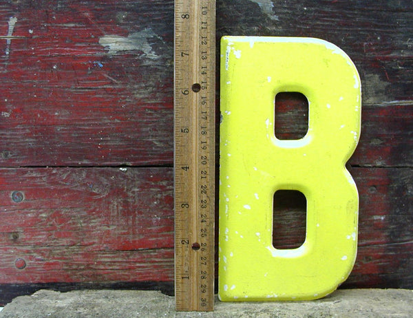 "Vintage Metal Letter B Sign Faded Chippy Paint 7 1/2"" DIY Project"