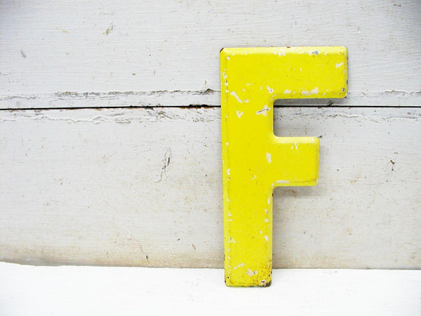"Vintage Metal Letter F  -  7.5""  Tin Sign Marquee - Faded Chippy DIY Project"