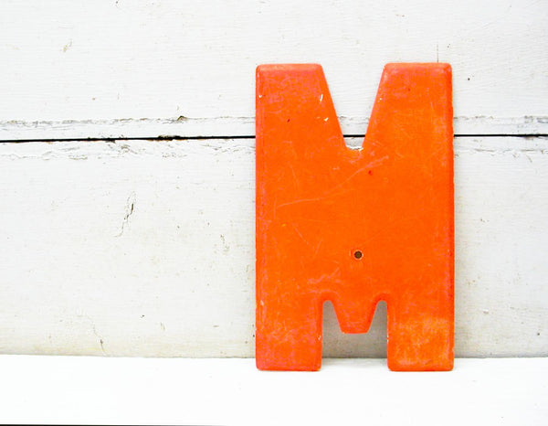 "Vintage Metal Letter M  Orange Chippy Paint 7 1/2"" Tin Sign Marquee - DIY"
