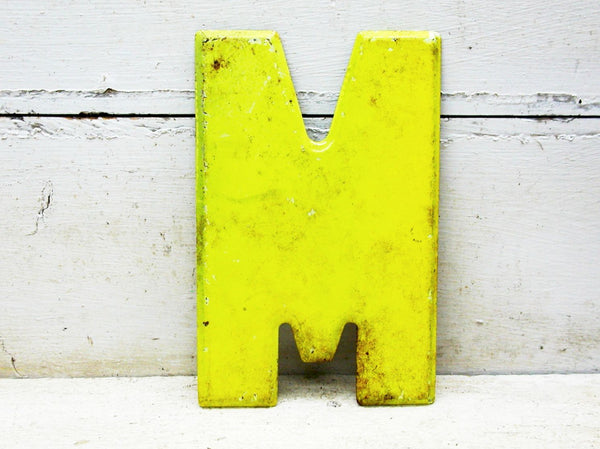 "Vintage Metal Letter M or Letter W  -  7.5"" Marquee Chippy Paint Chartreuse - DIY"