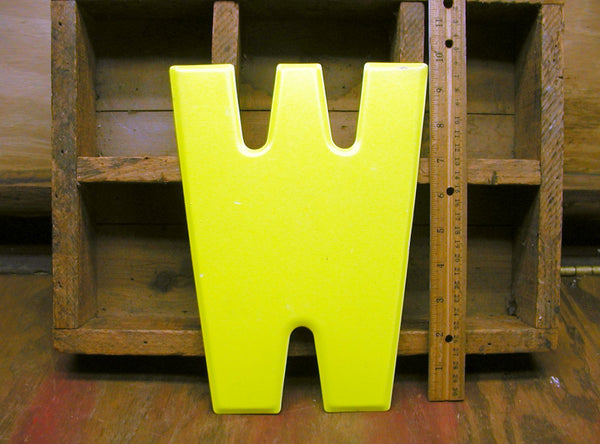 "Vintage Metal Letter W - 10"" Tin Sign Marquee - Bright Chartreuse Paint - idugitup"