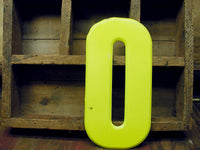 "Vintage Metal Number 0 Number Zero Letter O Sign 10"" Chartreuse Tin Sign Free Ship - idugitup"