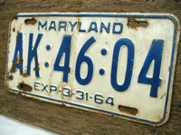 Vintage Maryland MD License Tag Plate - 1964 White Rusty - Free Ship - idugitup