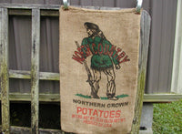 Vintage Burlap Sack North Country Potatoes Feed Bag - DIY Burlap Project