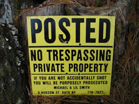 Old No Trespassing Sign - Private Property Sign