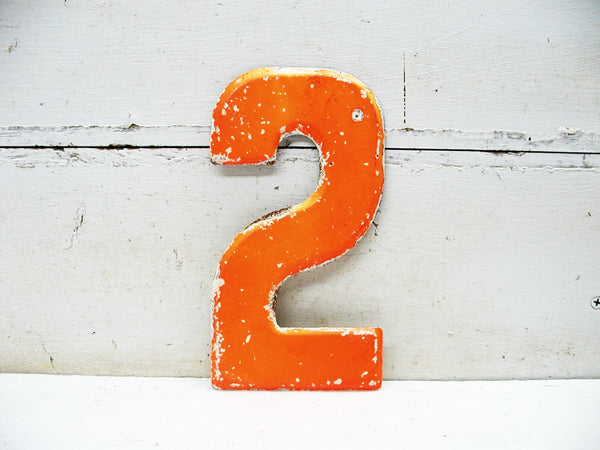 "Vintage Metal Number 2 Number Two Sign 7 1/2"" Large Marquee Orange Paint"