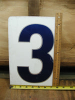 Vintage Gas Station Metal Sign Number Three or Zero - Free Shipping