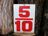Vintage Price Sign Number Metal Steel Sign Two Sided 5/10  9/10 Fraction Tax Price Sign