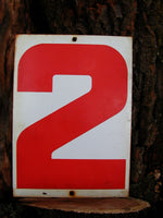Vintage Steel Number Sign - Two Sided Number 2 or 3 Sign - Three or Two - idugitup