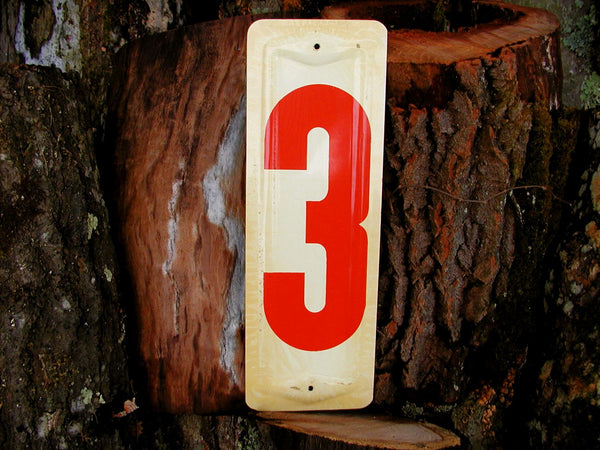 "Vintage 13"" Inch Gas Station Metal Sign - Number 3 Price Sign - Free Ship - idugitup"