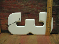 "Vintage Metal Number 3 Number Three Sign 10"" Large Thick Tin Sign Marquee White - idugitup"