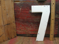 "Vintage Metal Number 7 Number Seven Sign 10"" Large Thick Tin Sign Marquee White - idugitup"