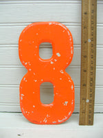 "Vintage Metal Number 8 Number Eight Sign 7 1/2"" Large Thick Tin Sign Marquee Orange - idugitup"