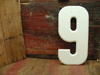 "Vintage Metal Number 9 or 6 Number Nine or Six Sign 10"" Large Sign Marquee White - idugitup"