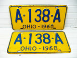 Ohio License Tag Pair - Plate 1960 A-138-A - Man Cave Bar Decor - Free Ship - idugitup