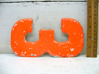 "Vintage Metal Number 3 Sign Orange Chippy Paint 7 1/2"" DIY Project Free Ship"