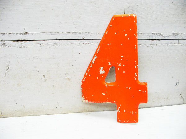 "Vintage Metal Number 4 Number Four Sign 7 1/2"" Large Thick Tin Sign Marquee Orange"