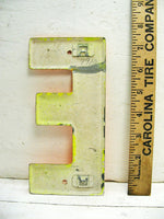"Vintage Metal Letter E Sign Orange Weathered Paint 7.5"" DIY Project - Free Ship"