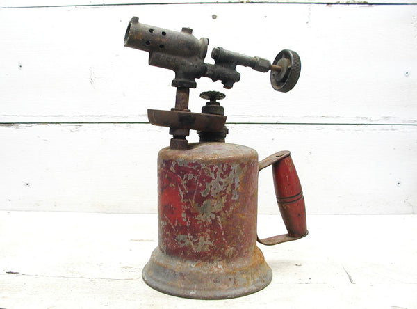 Vintage Brass and Steel Torch - Old Paint Chippy Red Bernz Co - Industrial Lamp Project - idugitup