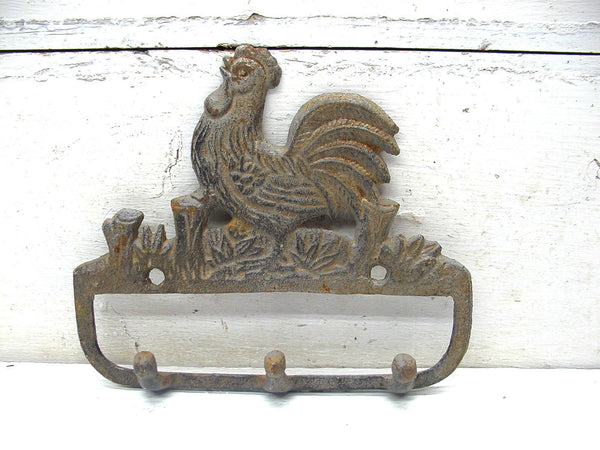 Cast Iron Rooster Hook - Rustic Primitive Wall Hook - Farmhouse DIY