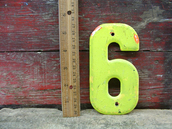 "Vintage Metal Chippy 6 Number Nine 5.5"" Chartreuse Tin Sign Free Ship"