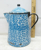 Vintage French Country Blue Graniteware Enamel Kettle -  Perfectly Primitive - idugitup