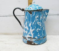 Vintage French Country Blue Graniteware Enamel Kettle -  Perfectly Primitive Farmhouse Decor - idugitup