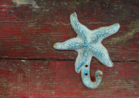 Cast Iron Starfish Hook - Free Ship - Beach Lover Gift - Rustic Beach Decor - idugitup