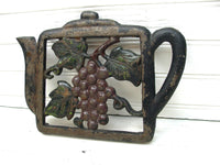 Vintage Country Kitchen Trivet Cast Iron Teapot Wine Gravevine Theme Design Retro Kitchen Japan - idugitup