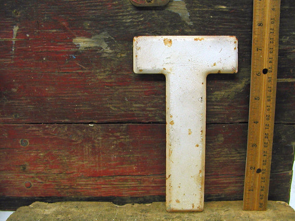 "Vintage Metal Letter T White Chippy Paint 7 1/2"" Tin Sign Marquee - DIY"