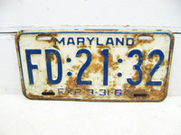 Vintage Maryland MD License Tag Plate - 1964 White FD 2132 Rusty - Free Ship - idugitup