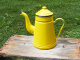 Vintage French Country Yellow Porcelain Enamel Coffee Pot - Perfectly Primitive - Farmhouse Decor - idugitup
