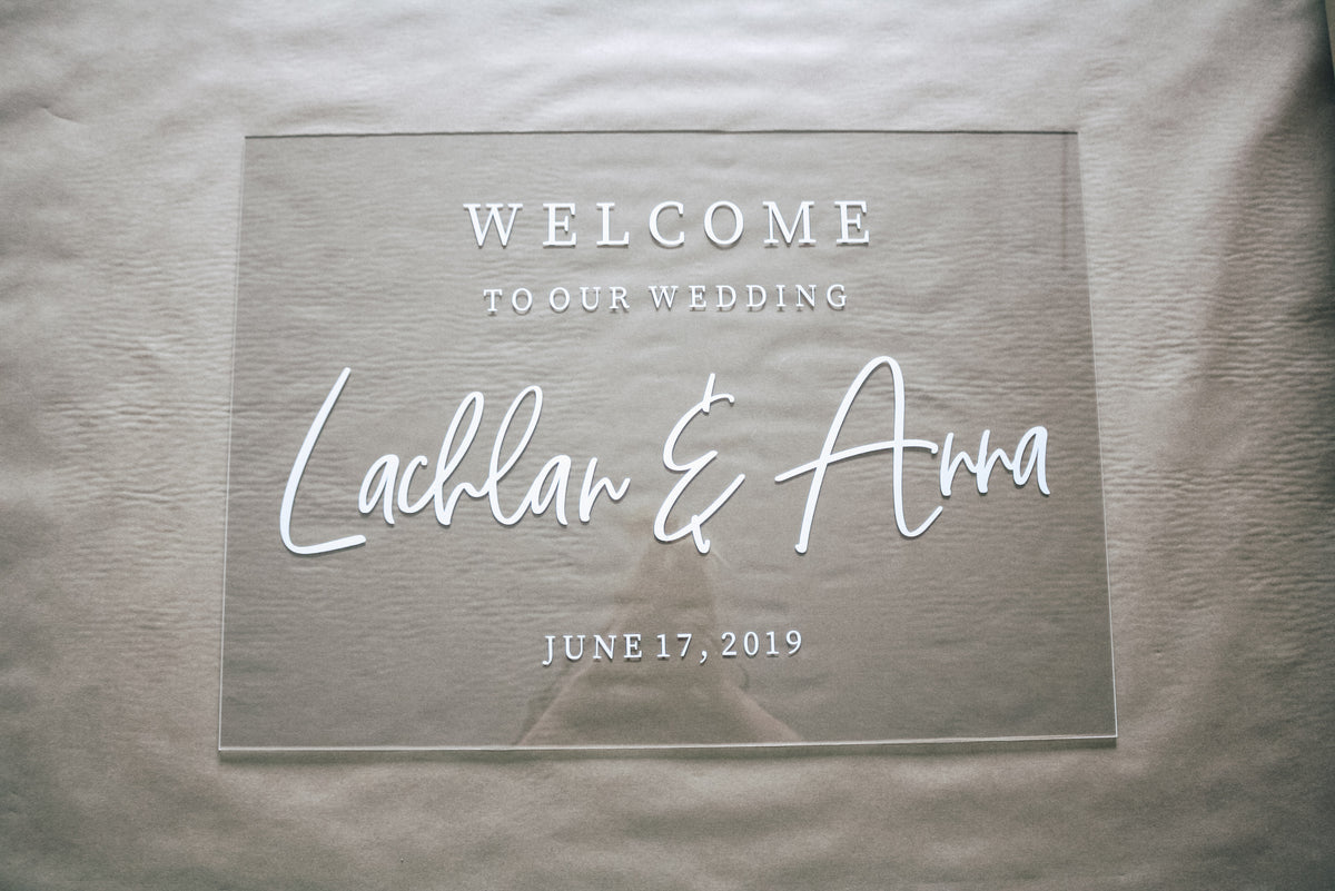 THE EMI| Clear wedding welcome sign