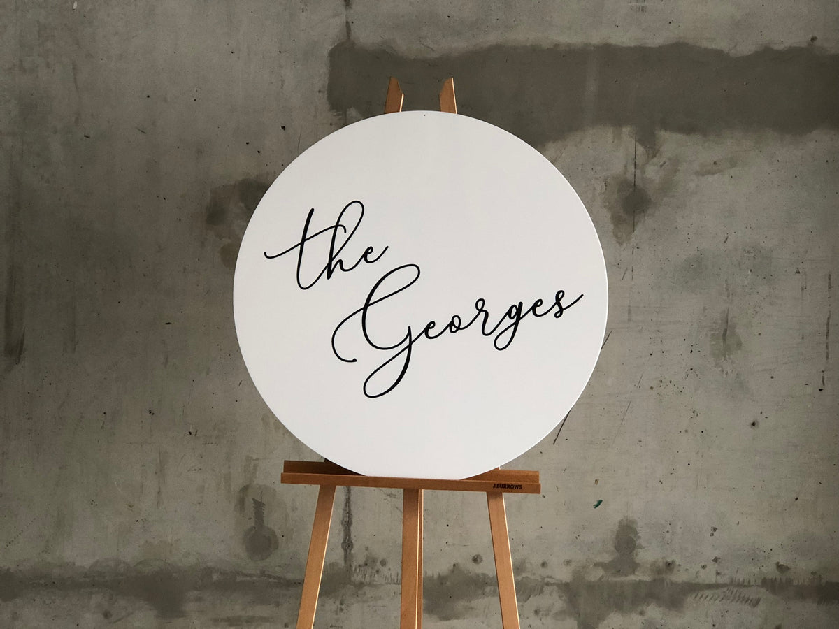 Custom Round White Wedding Signs