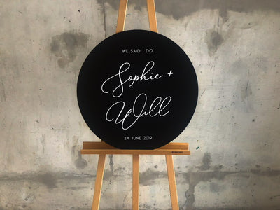 The SOPHIE Round Black Wedding Sign