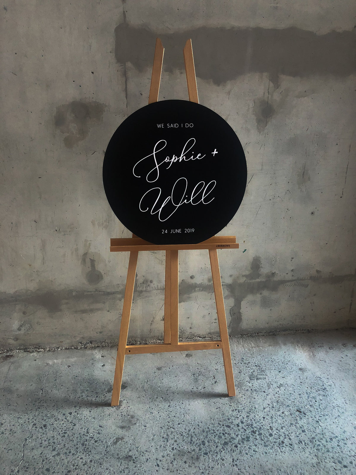 Personalized Round Black Wedding Signs
