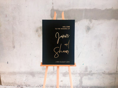 The JAMES Black and Gold Wedding Sign