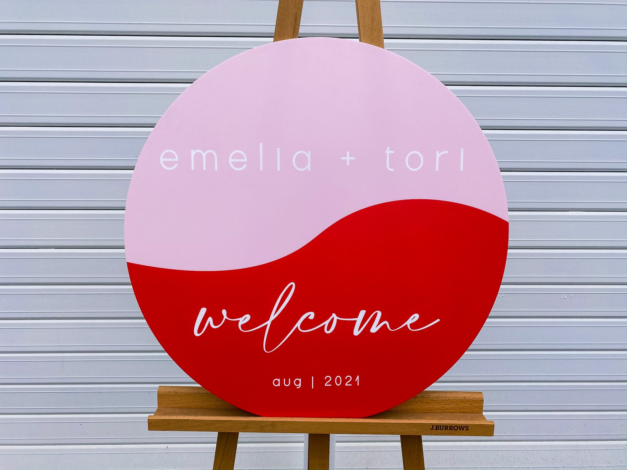 Red and Pink Wedding Sign with wave