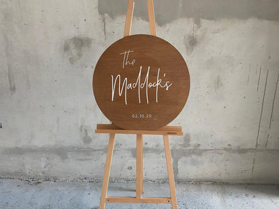 Personalised wooden round sign