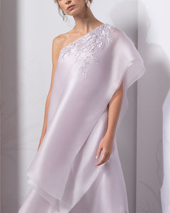 One Shoulder Tiered Silk Organza Dress - Sandy Nour