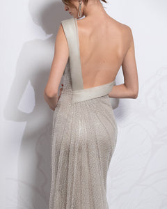 Beaded One-Shoulder Sheath Dress - Sandy Nour
