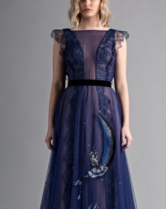Hand Embroidered Girl On The Moon Dress - Sandy Nour
