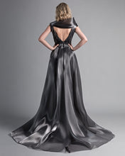 Load image into Gallery viewer, Asymmetric Off-The-Shoulder Metallic Moon Dress - Sandy Nour