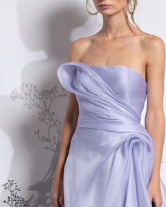 Strapless Draped Fit & Flared Silk Organza Dress - Sandy Nour