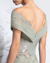 Load image into Gallery viewer, Draped Off-the-Shoulder Tiered Iris Dress - Sandy Nour